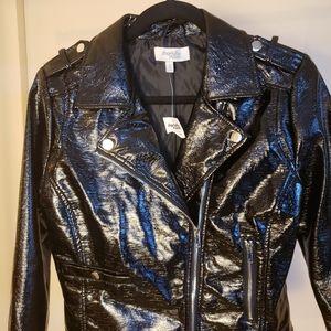 Charlotte Russe black Faux leather moto jacket. M